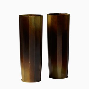 Swedish Vases by Ivar Ålenius-Björk for Ystad Brons, 1930s, Set of 2