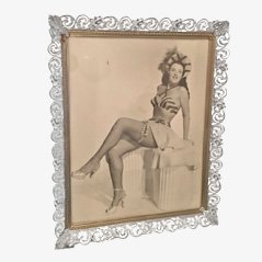 White Enameled Metal Frame,1940s