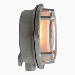 Vintage Industrial Frosted Glass and Gray Metal Wall Lamp