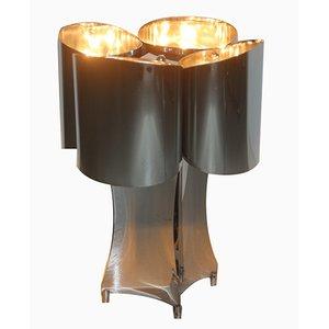 Lámpara de mesa de acero curvado, años 70
