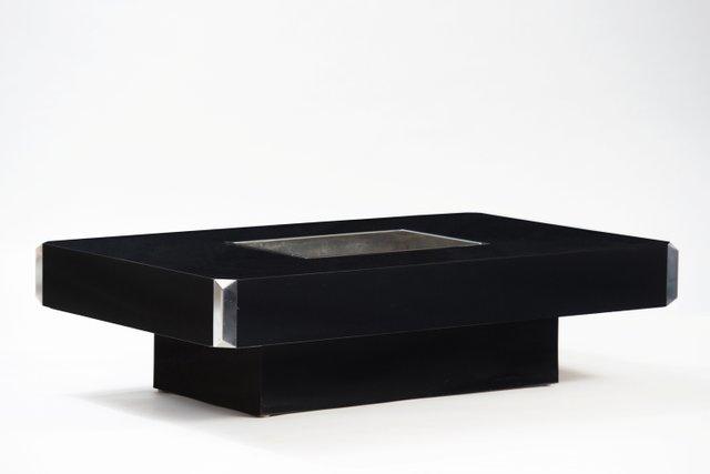 Table basse Alveo en acier inoxydable Willy Rizzo 1970