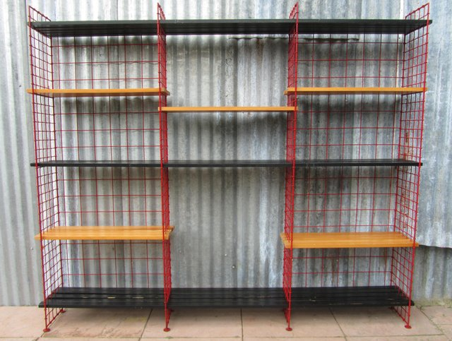 Dutch Modernist Red Wire Shelving Unit from Metz & Co., 1950s for ...