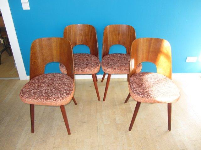 tschechische cocktail st hle aus teakholz 1950er 4er set bei pamono kaufen. Black Bedroom Furniture Sets. Home Design Ideas