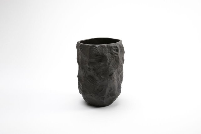Tall Vase In Black Basalt From The Crockery Series By Max Lamb For