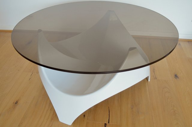 Mid Century Smoked Glass Coffee Table From Opal Mobel 1960s For Sale At Pamono