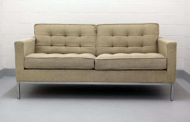 Two Seater Chrome And Wool Sofa By Florence Knoll For 1970s