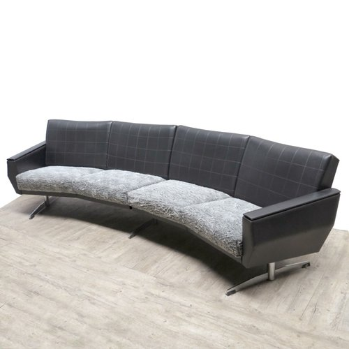 Vintage Leather Rounded Sofa For