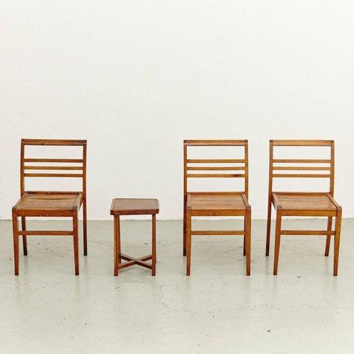 chaises et table d 39 appoint par rene gabriel france 1940s set de 4 en vente sur pamono. Black Bedroom Furniture Sets. Home Design Ideas