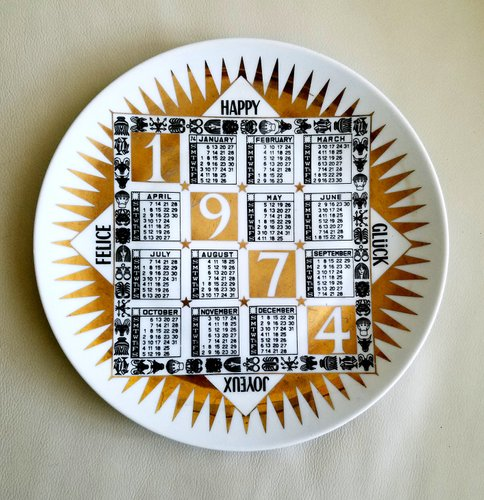 Calendario 1973.Vintage Italian Calendar Porcelain Plate For 1974 By Piero Fornasetti For Piatti Calendario 1973