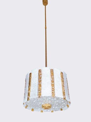 Wunderbar Vergoldeter Eisglas Trommel Kronleuchter Von J.T. Kalmar Für Kalmar, 1960er  Bei Pamono Kaufen