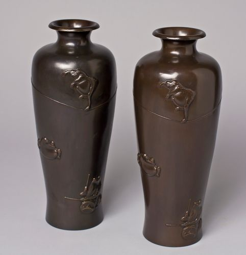 Japanese Brass Vases Depicting Performing Frogs Set Of 2 For Sale