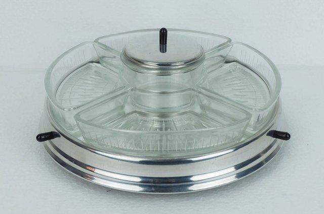 LSAIFATER Lazy-Susan Vassoio Girevole da Cucina a Forma di Fiore Satinato Perfetto come Portaspezie 25cm x 7,6cm