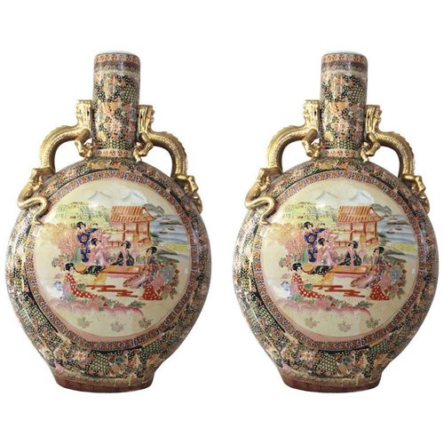Chinese Satsuma Ceramic Vases Set Of 2 For Sale At Pamono