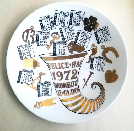 Year 1972 Porcelain Calendar Plate By Piero Fornasetti For Sale At