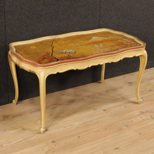 Venetian Lacquered, Gilded And Hand Painted Coffee Table, 1950s For Sale At  Pamono