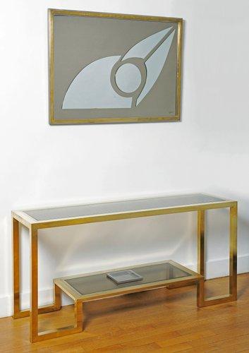 grande console en laiton dorures et en acier chrom par romeo rega 1970s en vente sur pamono. Black Bedroom Furniture Sets. Home Design Ideas