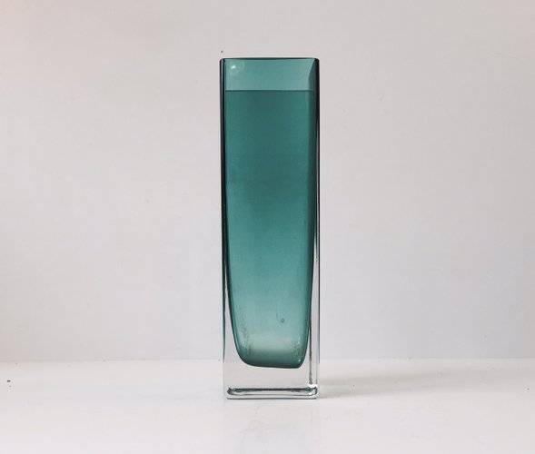 Turquoise Rectangular Glass Vase By Gunnar Ander For Lindshammar For