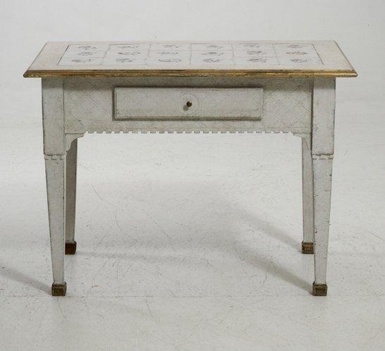table console antique scandinave avec plateau carrel en vente sur pamono. Black Bedroom Furniture Sets. Home Design Ideas