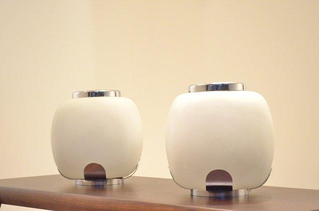 Opalescent Glass Chrome Multi Flower Vase Lamps By Alfredo Barbini