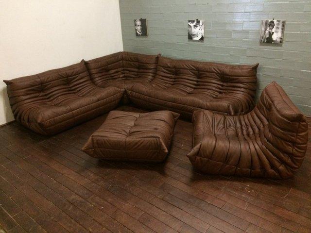 vintage togo wohnzimmer set aus braunem leder von michel. Black Bedroom Furniture Sets. Home Design Ideas