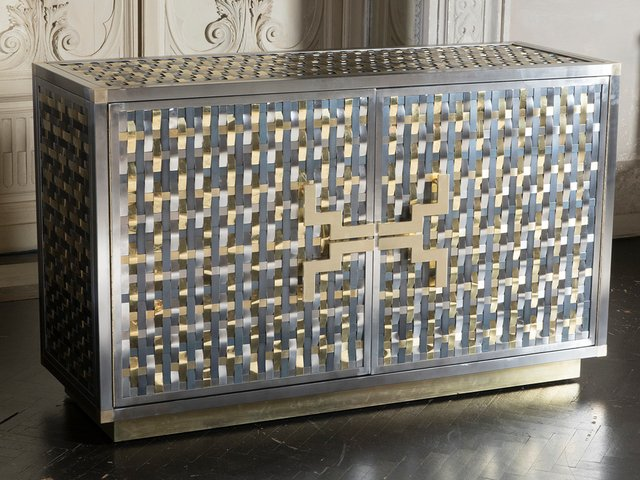 Merveilleux Intreccio Steel, Iron And Brass Band Cabinet By Franco Mariotti For  Edizioni Flair, 2017