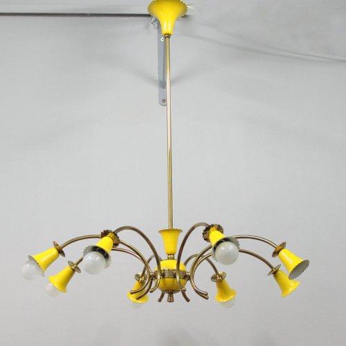 Yellow Italian Chandelier 1950s For