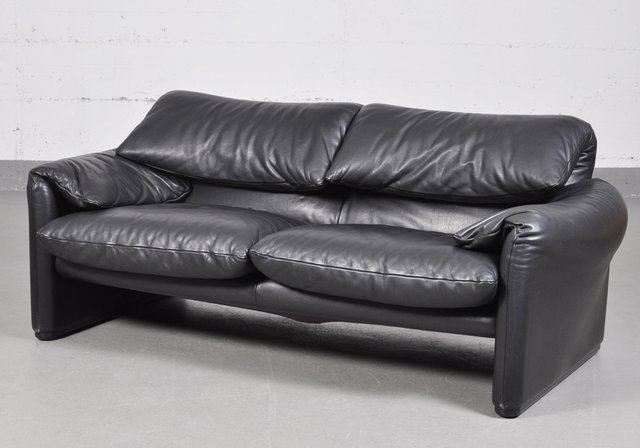 Vintage Maralunga Black Leather Two-Seater Sofa by Vico Magistretti for  Cassina