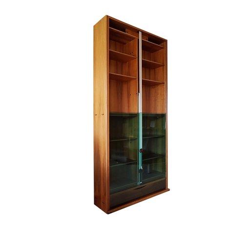 Libreria vintage in legno di noce e vetro verde di carlo for Bernini arredamento