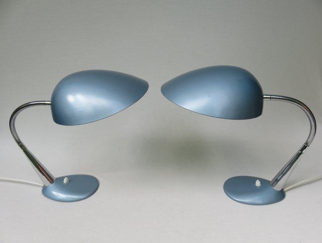Lampade da tavolo blu metallizzato anni 39 50 set di 2 in vendita su pamono - Lampade da tavolo anni 50 ...