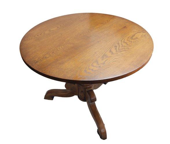 Tavolo rotondo antico in quercia e frassino in vendita su Pamono