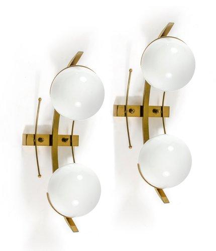 Applique in ottone e vetro di Stilnovo, set di 2 in vendita su Pamono