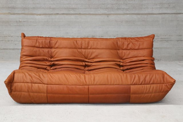 Vintage Togo Cognac Leather Three Seater Sofa By Michel Ducaroy For