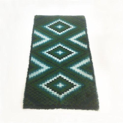 Ege Art Line Rug: Scandinavian Square Pattern Rya Rug By Ege Taepper, 1960s