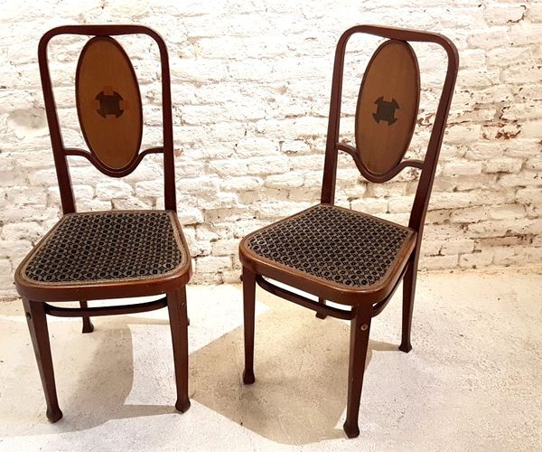414 wiener secession st hle von marcel kammerer f r thonet 1910er 2er set bei pamono kaufen. Black Bedroom Furniture Sets. Home Design Ideas
