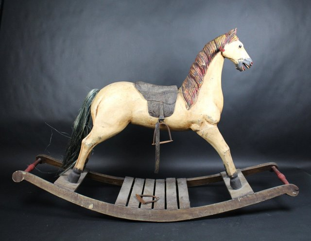 Antique Wooden Rocking Horse For Sale At Pamono