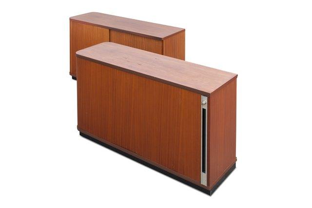 vintage b roschr nke mit rollt ren 2er set bei pamono kaufen. Black Bedroom Furniture Sets. Home Design Ideas