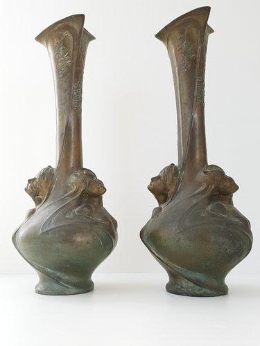 Antique Bronze Art Nouveau Vases By Melle Sibeud Set Of 2 For Sale
