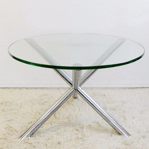 petite table de salle manger ronde en verre 1970s en vente sur pamono. Black Bedroom Furniture Sets. Home Design Ideas