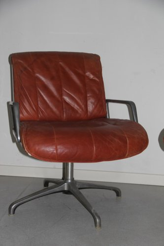 Italian Leather Desk Chairs 1960s Set