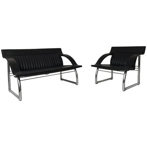 schwarzes ds 127 ledersofa und armlehnstuhl von gerd lange f r de sede 1980er bei pamono kaufen. Black Bedroom Furniture Sets. Home Design Ideas
