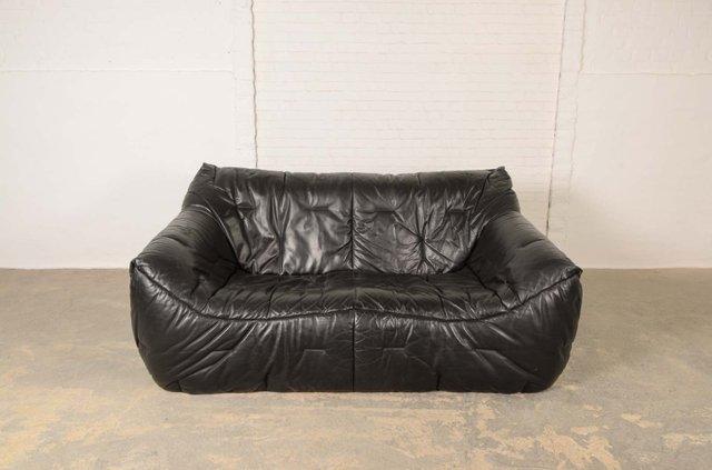 schwarzes vintage leder sofa aus weichem schaumstoff von. Black Bedroom Furniture Sets. Home Design Ideas