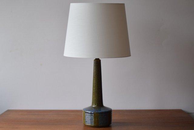 Scandinavian Table Lamp in Moss Green & Blue by Per Linnemann Schmidt for Palshus, 1960s