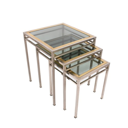 Nesting Coffee Tables In Brass Metal Smoked Glass 1970s For Sale At Pamono