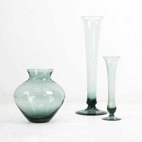 Turmalin Series Smoked Glass Vases By Wilhelm Wagenfeld For Wmf