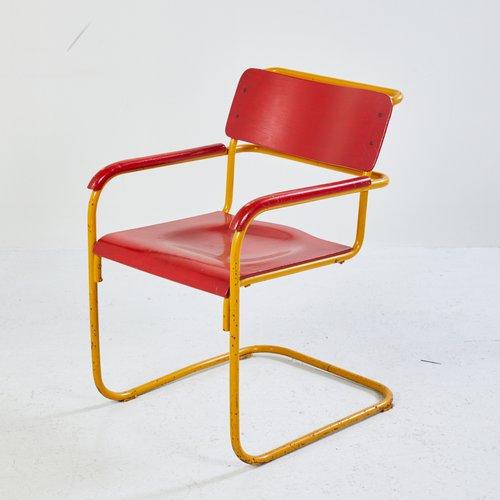 AmarilloAños Estilo Bauhaus Y 60 Rojo Silla En ynOPvwmN80