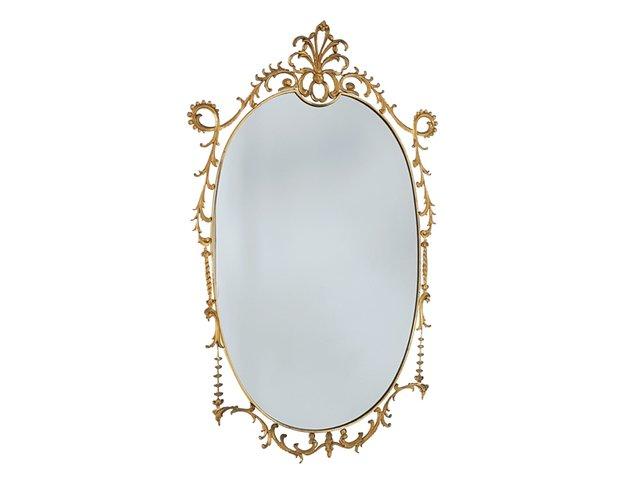 Specchio da parete grande in stile barocco in ottone anni in