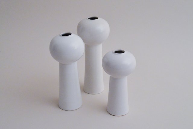 Space Age White Ceramic Vases Set Of 3 For Sale At Pamono