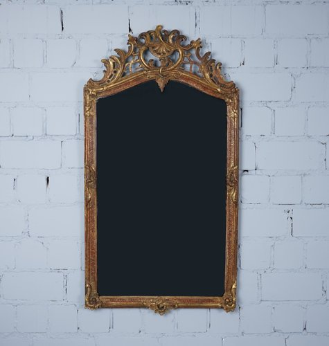 Antique Mirror With Carved Wooden Frame, Antique Wooden Frame Mirror