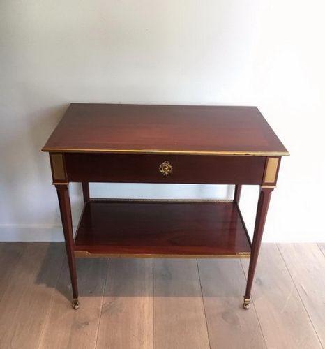 table console avec tiroir en acajou et laiton 1940s en vente sur pamono. Black Bedroom Furniture Sets. Home Design Ideas