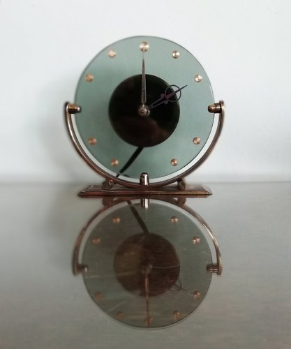 Beau Vintage Glass Table Clock By Leendert Prins For NUFA, 1930s For Sale At  Pamono